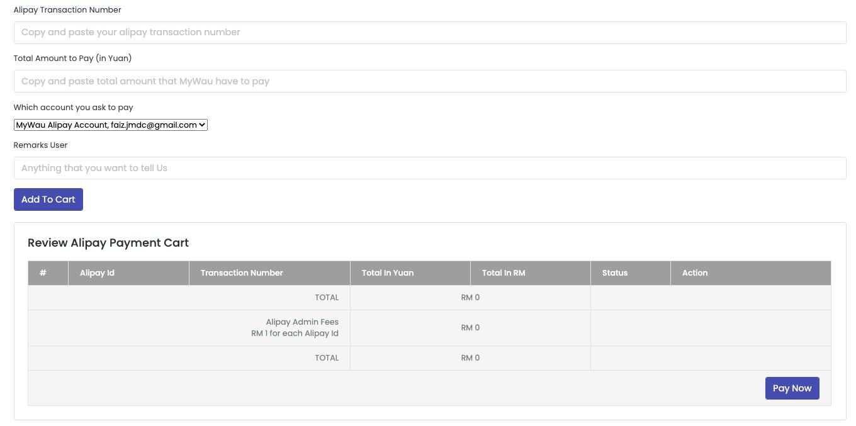 Sistem Add to Cart adalah Ciri Baharu di MyWau menggantikan Consolidate Payment